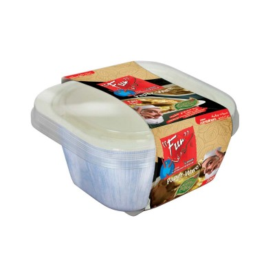 Fun® Paper Container w/ Lid 22oz - WHITE | 5pcsx10pkts