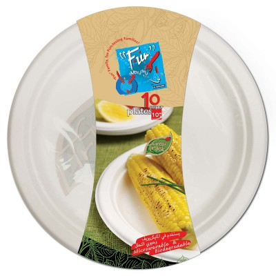 Fun® Biodegradable Moulded Fibre Plate ⌀10in | 10pcsx25pkts