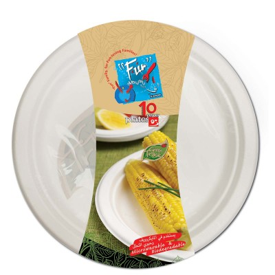 Fun® Biodegradable Moulded Fibre Plate ⌀9in | 10pcsx25pkts