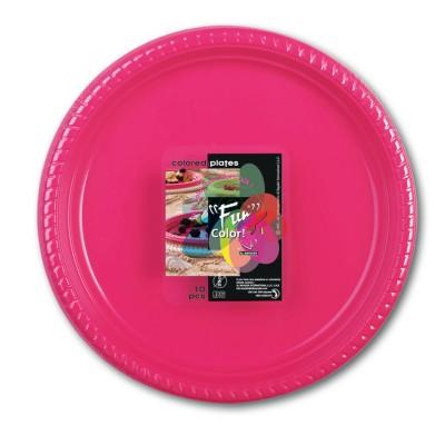 Fun® Plastic Plate ⌀25cm - Fuchsia   10pcsx25pkts