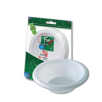 Fun® Plastic Bowl ⌀15cm - White | 50pcsx10pkts