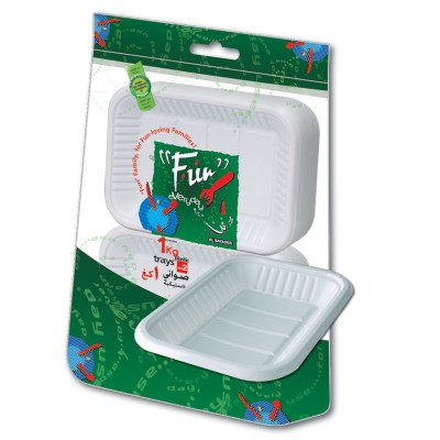 Fun® Rectangular Plastic Tray No.2 - White | 1Kgx10pkts