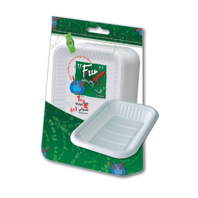 Fun® Rectangular Plastic Tray No.3 - White | 1Kgx10pkts