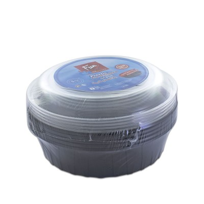 Fun® Multipurpose Black Round Container 48oz + Lid | 5pcsx25pkts