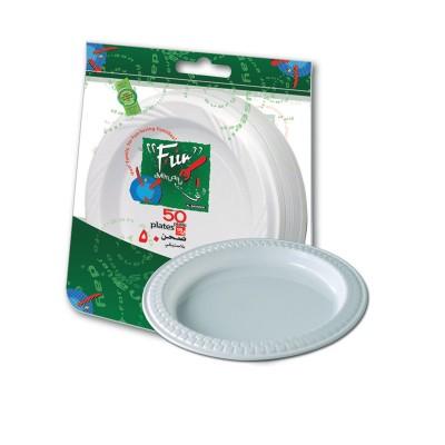 Fun® Plastic Plate ⌀15cm - White | 50pcsx10pkts