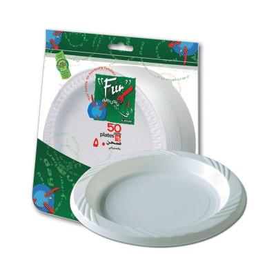 Fun® Plastic Plate ⌀18cm - White | 50pcsx10pkts