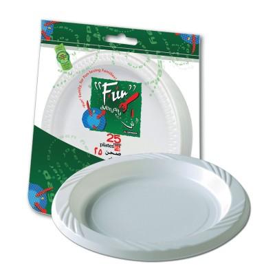 Fun® Plastic Plate ⌀22cm - White | 25pcsx20pkts