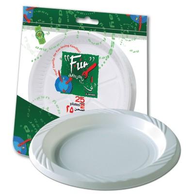 Fun® Plastic Plate ⌀26cm - White | 25pcsx20pkts