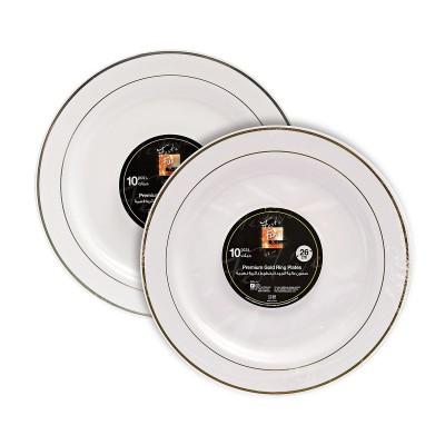 Fun® Premium Round Plate ⌀26cm - White w/ Gold/Silver Ring | 10pcsx20pkts