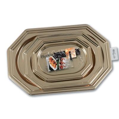 Fun® Octagonal Platters (3 Sizes) - Gold | 3pcsx9pkts