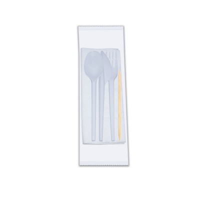 White Cutlery Set | NAP+Fork+Spoon+Knife+T.Pick | 500Sets
