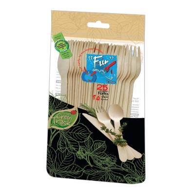 Fun® Wooden Fork ⌀6.5in - Evergreen | 25pcsx20pkts