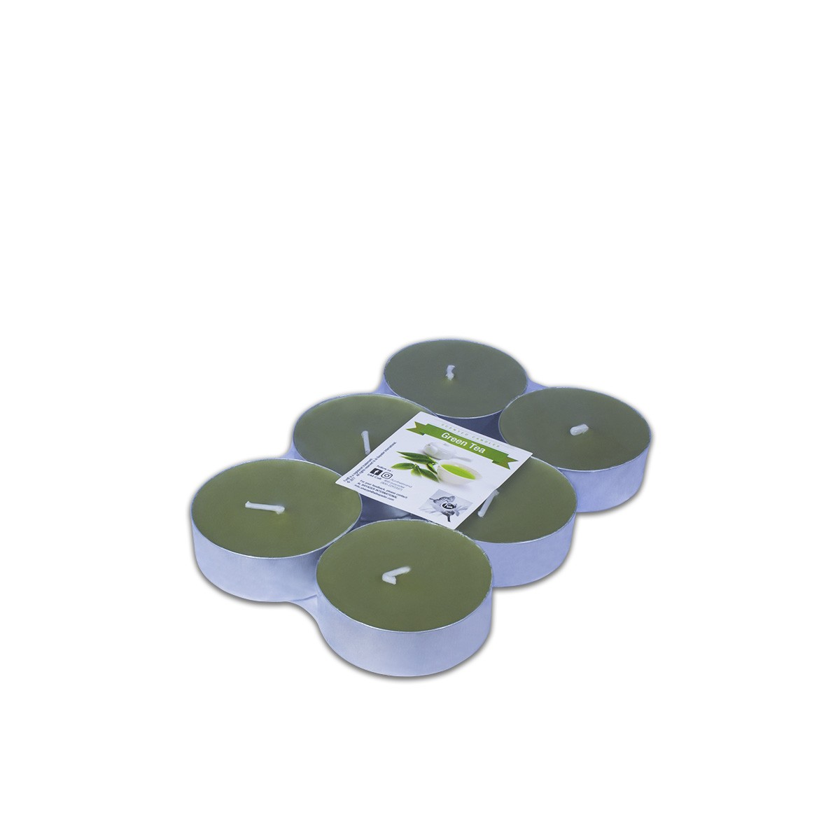 Fun® Scented Maxi-Tealight Candles 5.8x2cm - Green Tea | 6pcsx6pkts