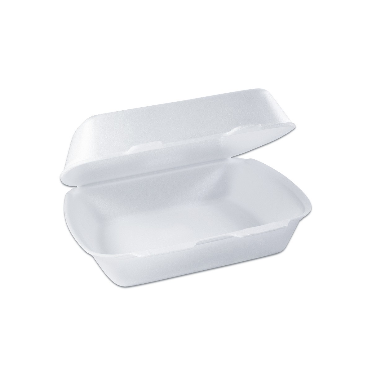 Foam Lunchbox w/ Hinge Lid 240x200x90mm - White | 100pcs