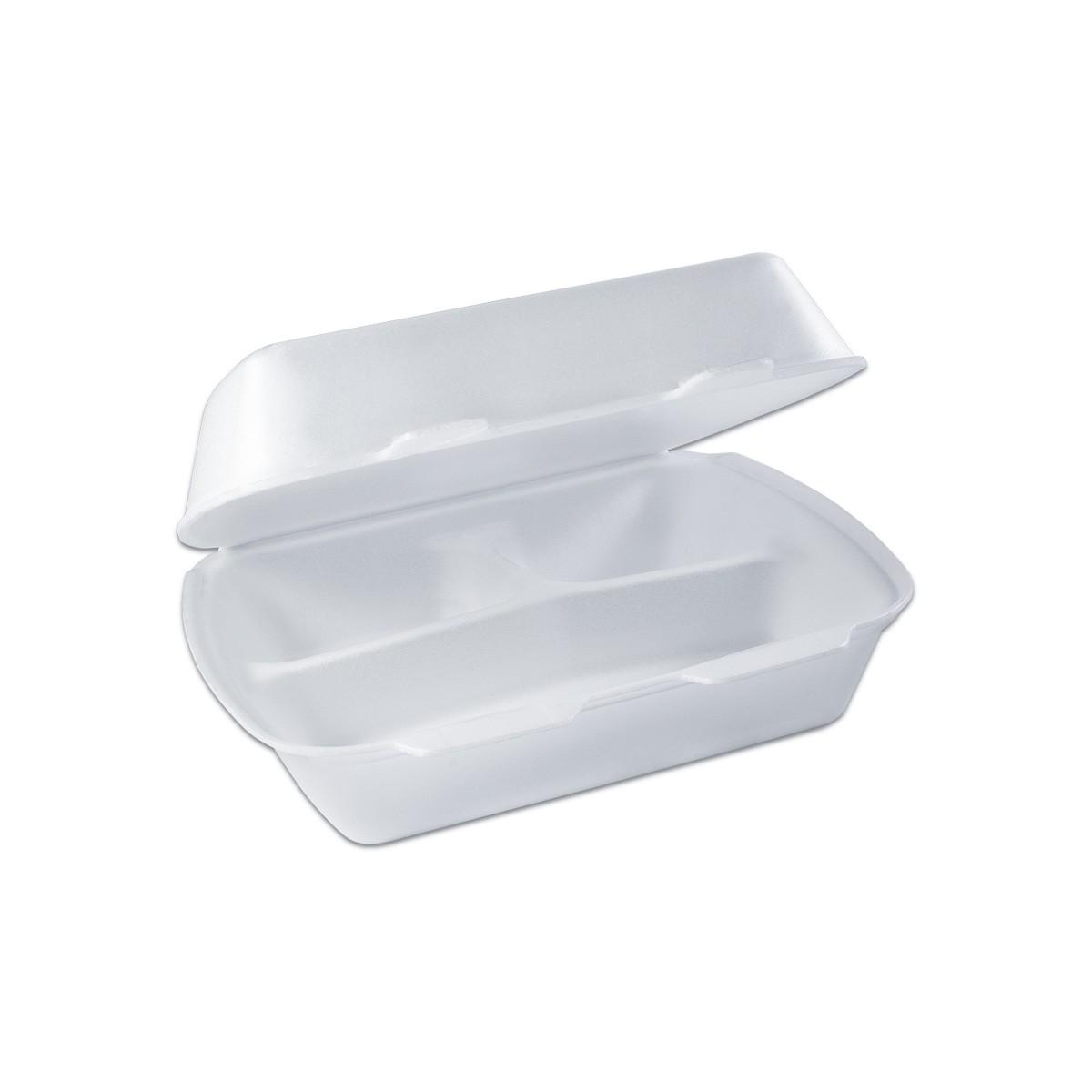3-Comp. Foam Lunchbox w/ Hinge Lid - White | 100pcs