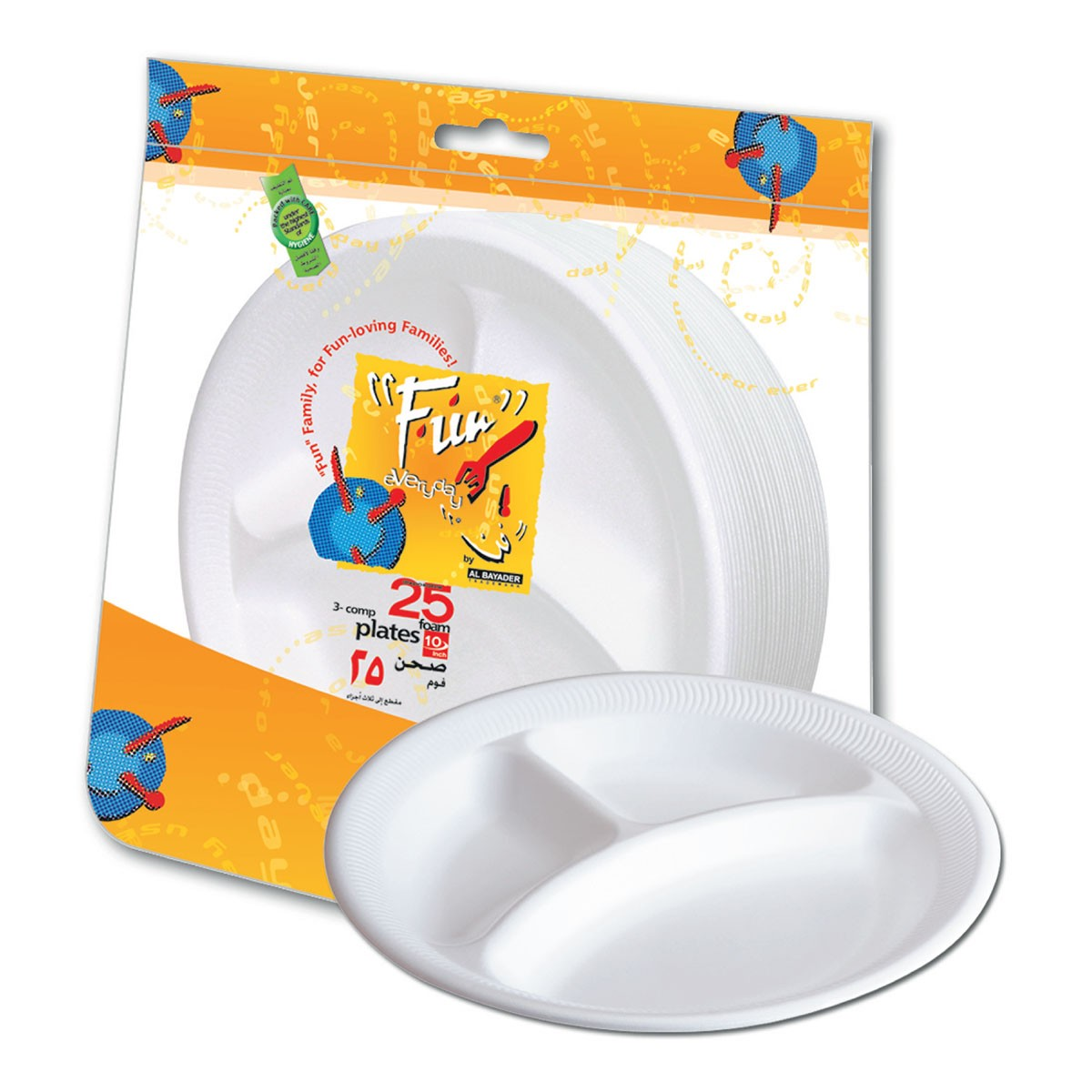 Fun® 3-Comp.Foam Plate ⌀10in - White   25pcsx20pkts