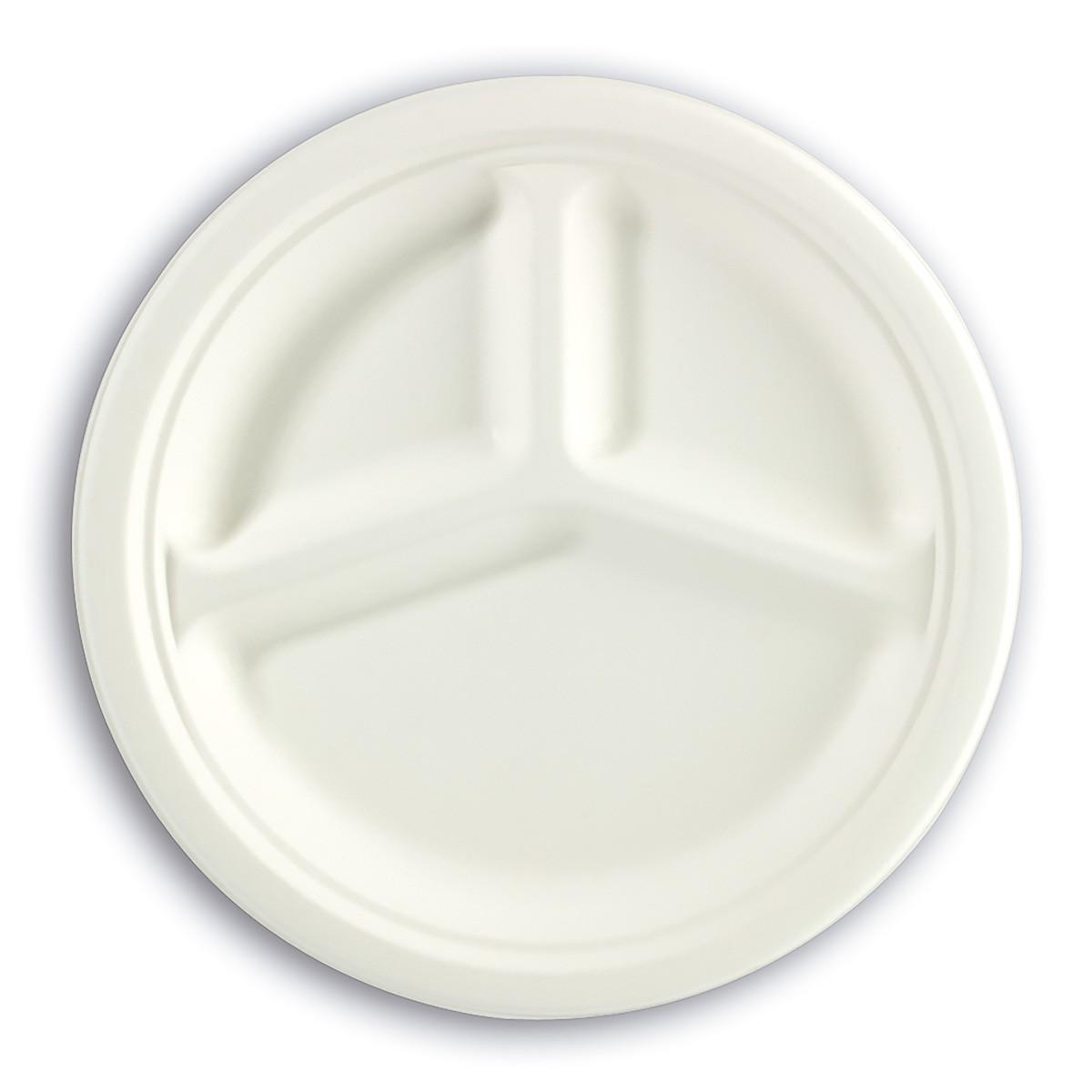 3-Comp. Biodegradable Moulded-Fibre Plate ⌀10in | 50pcsx20pkts