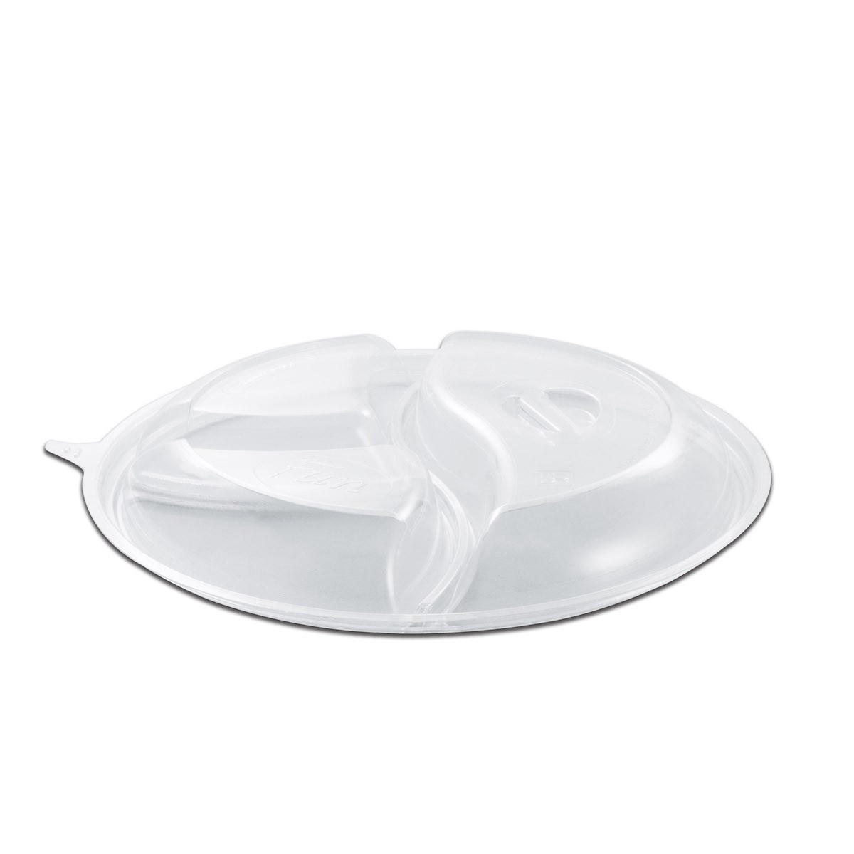 Roundpac Dome Lid 3-Comp. w/ Spork Slot for Round Plate/Cont. ⌀26cm - PP/Clear Deluxe   25pcsx10pkts