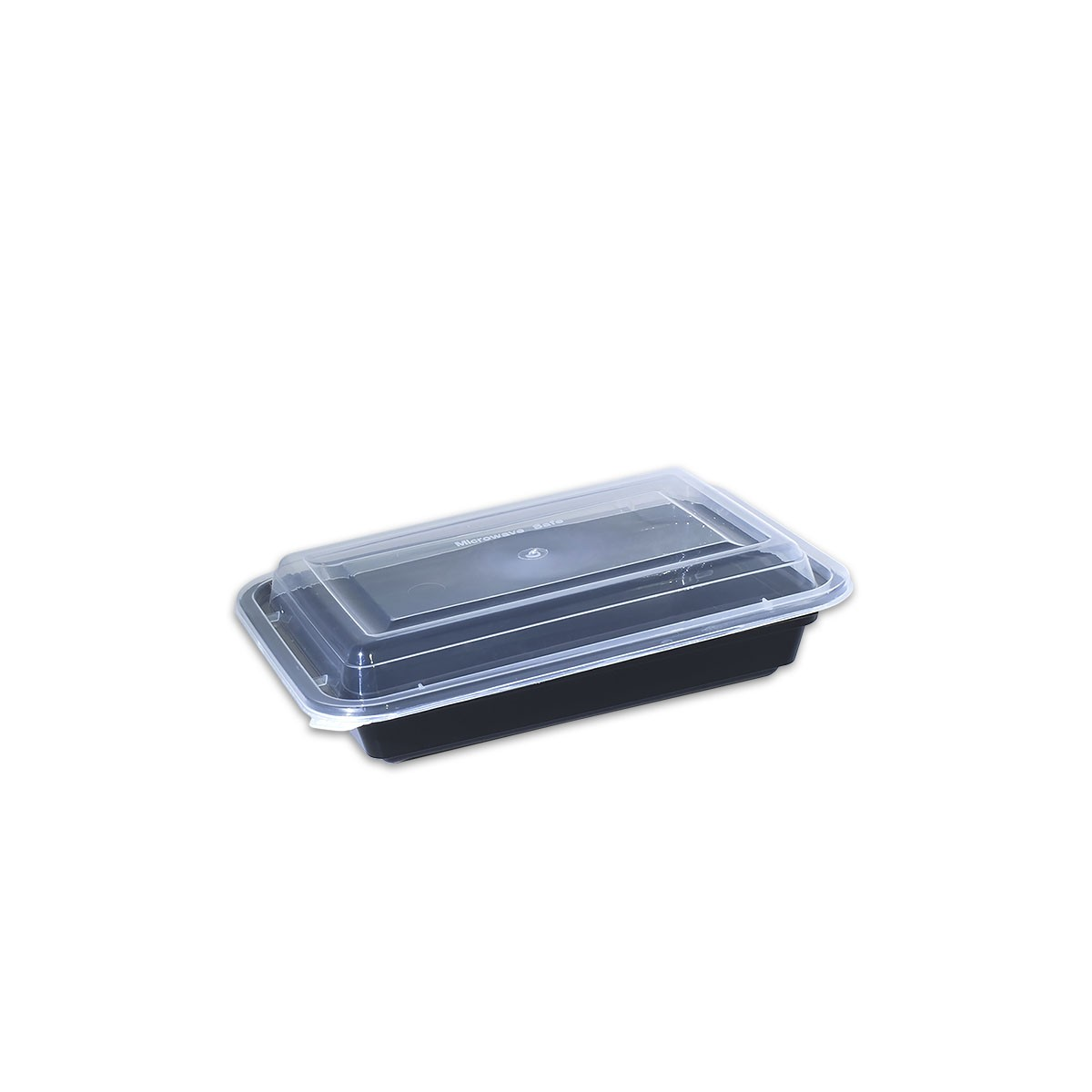 Black Rect. Microwavable Container 12oz - w/Lid | 150pcs