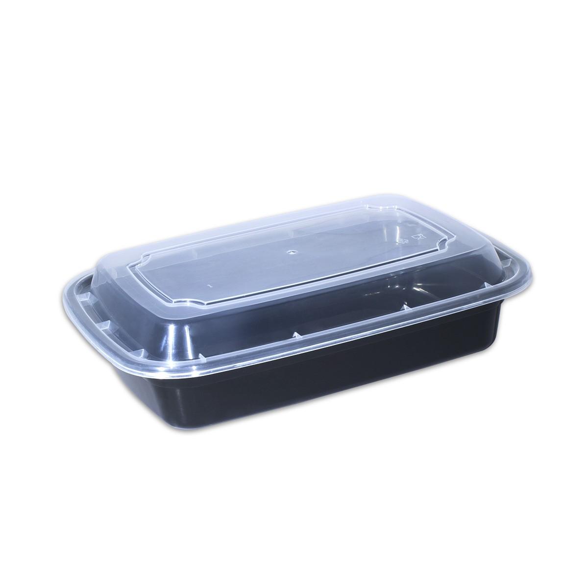Black Rect. Microwavable Container 28oz - w/Lid  | 150pcs