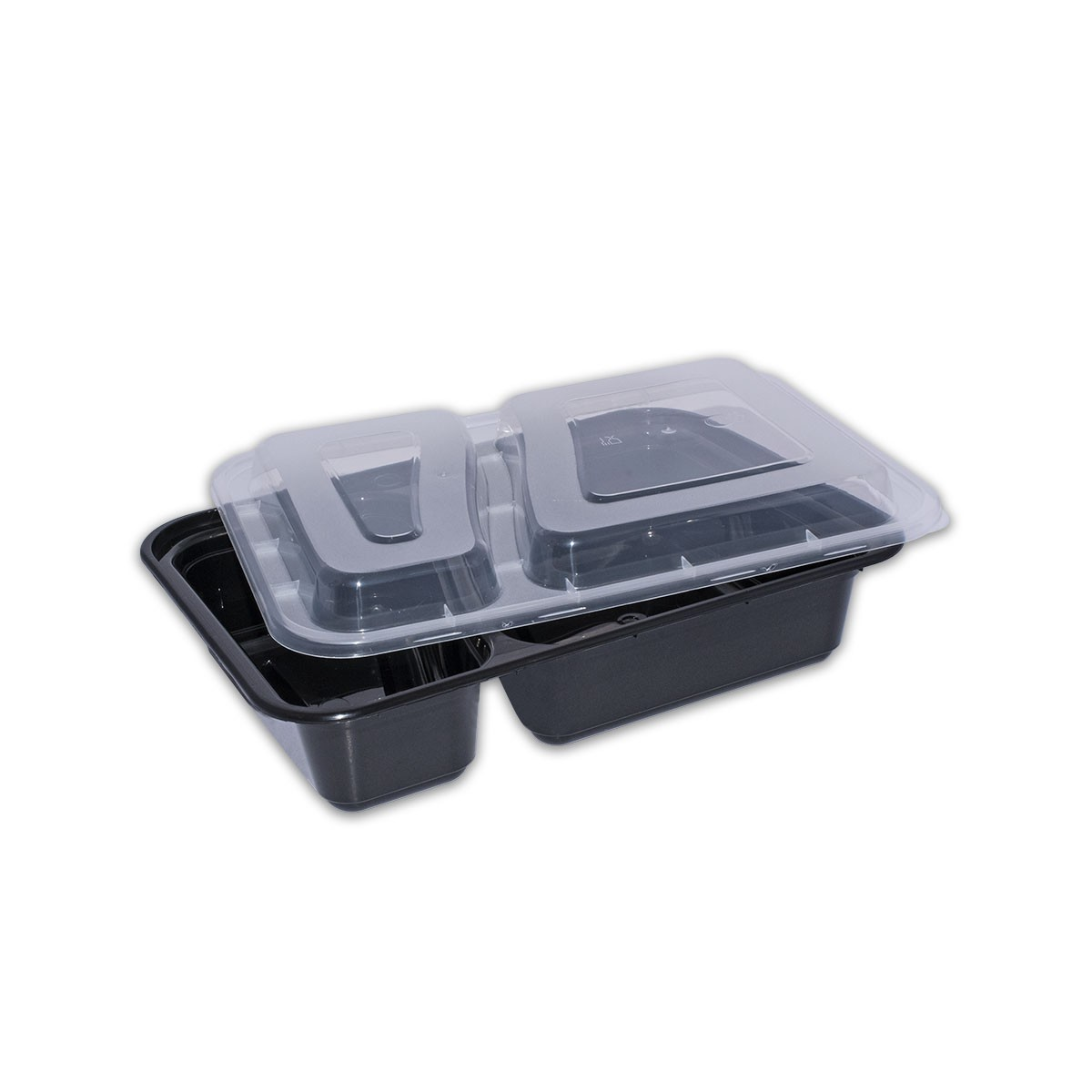 Black Rect. Microwavable Container 32oz 2-Comp.- w/Lid  | 150pcs