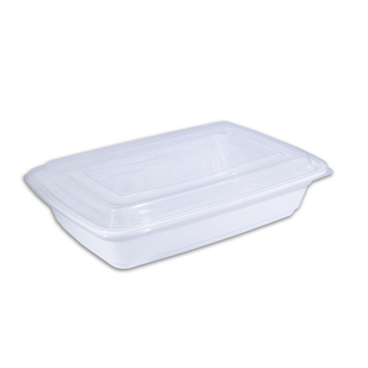 White Rect  Microwavable Container 32oz - w/ Lid | 150pcs
