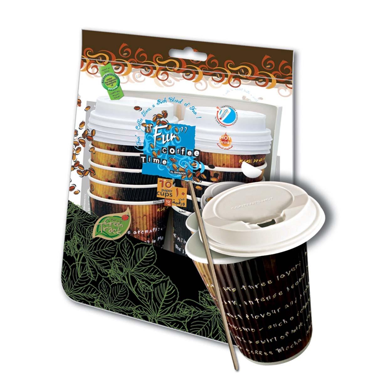Fun® Ruffles Paper Cup 12oz w/ Lid+Stirrer | 10pcsx50pkts