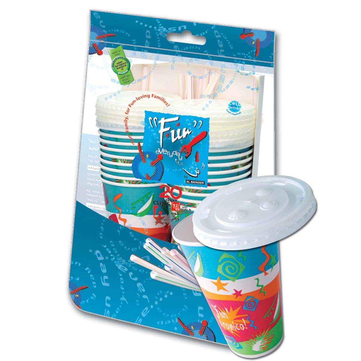 Fun® Paper Cup 12oz w/ Lid and Straw | 20pcsx50pkts