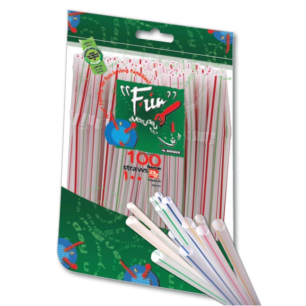 Fun® Flexible Straw ⌀5x230mm - White/Striped | 100pcsx100pkts