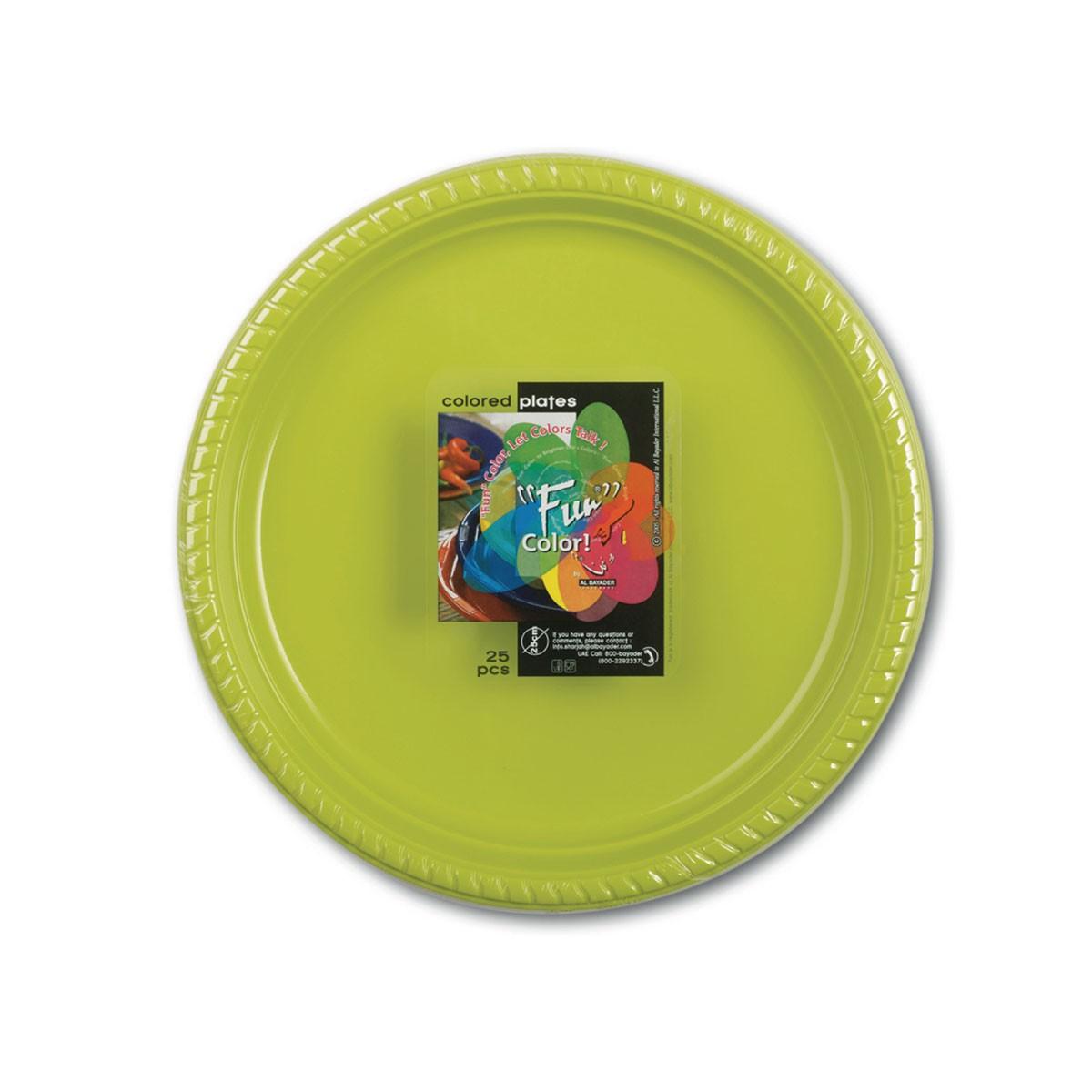 Fun® Plastic Plate ⌀22cm - Olive   25pcsx20pkts