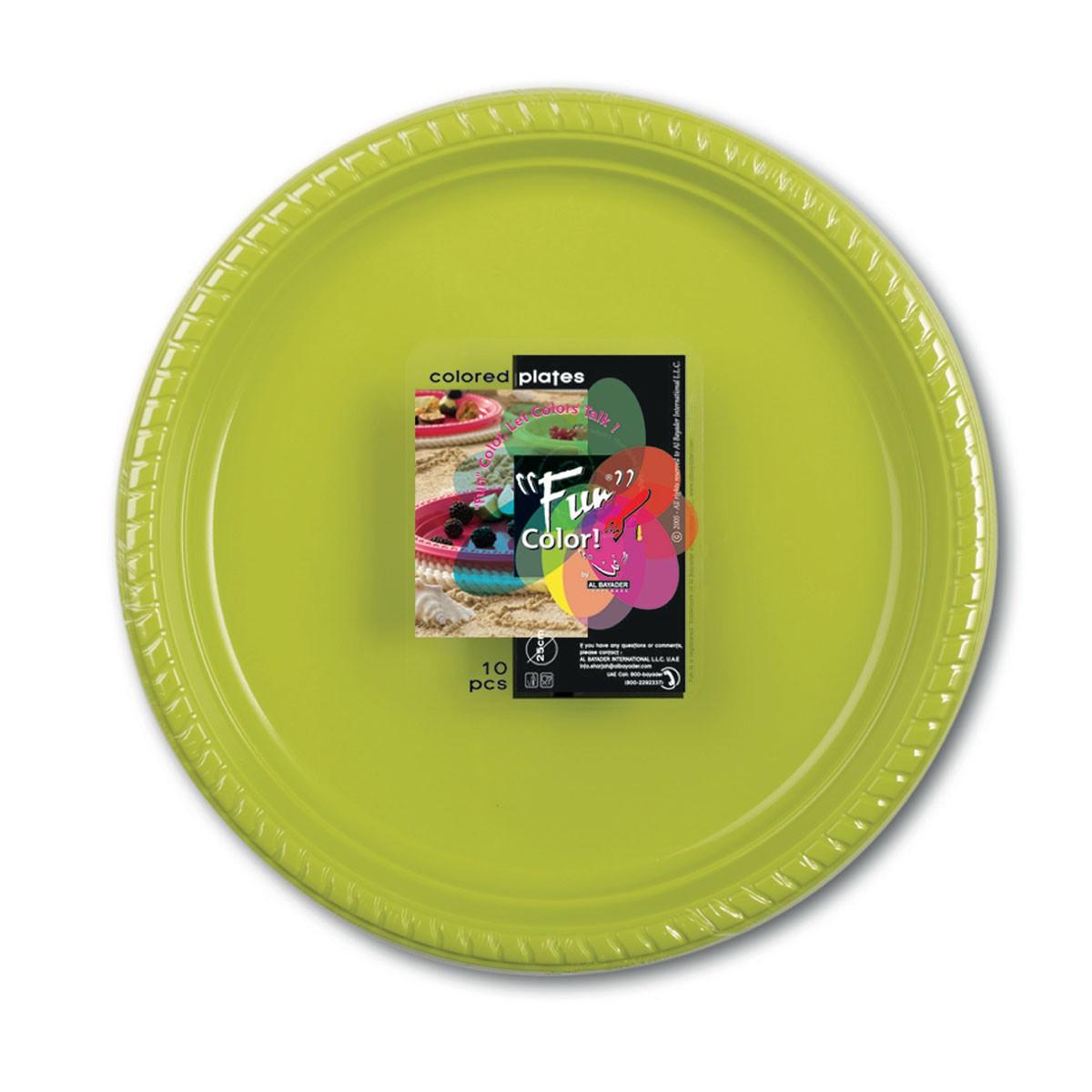 Fun® Plastic Plate ⌀25cm - Olive   10pcsx25pkts