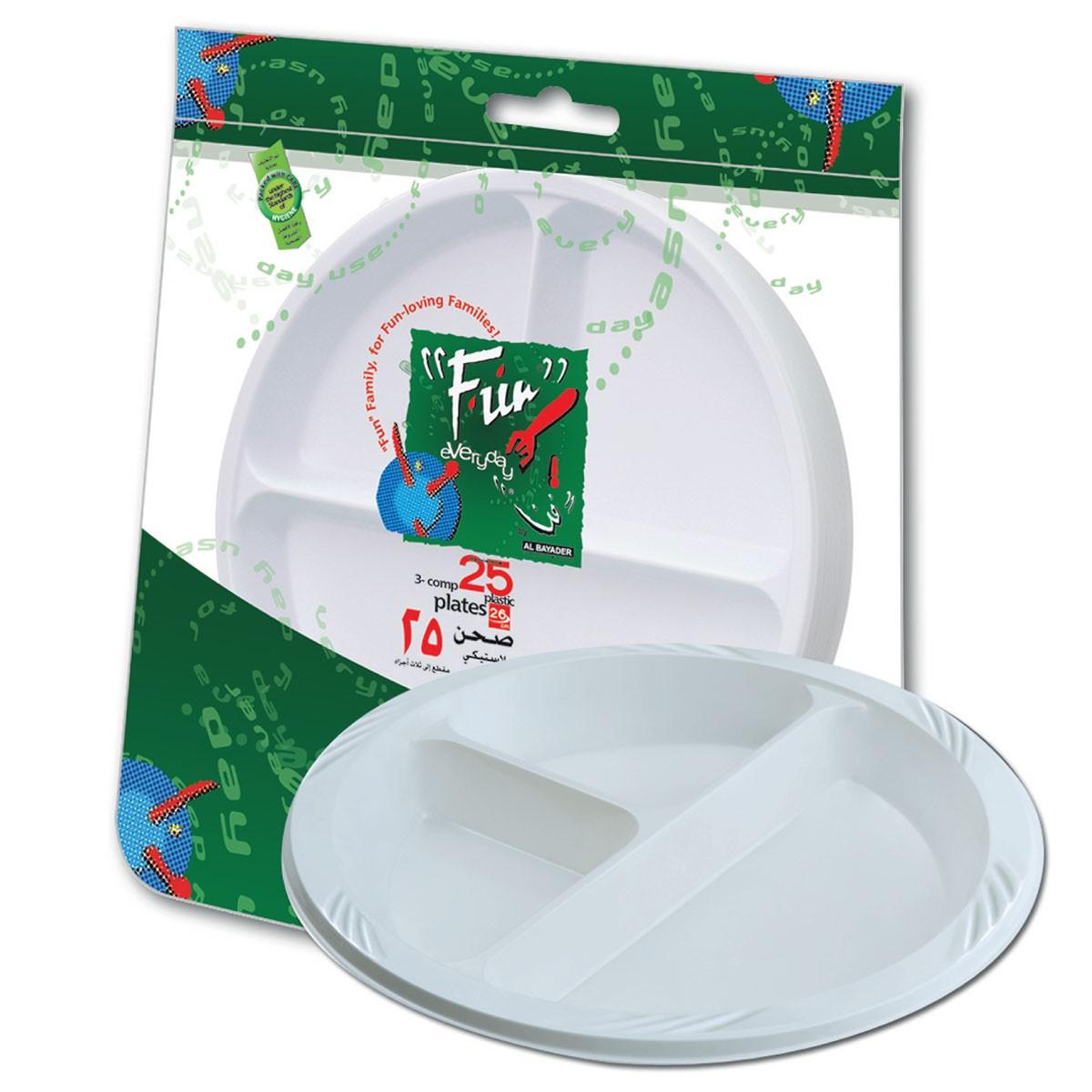 Fun® 3-Comp. Plastic Plate ⌀26cm - White | 25pcsx20pkts