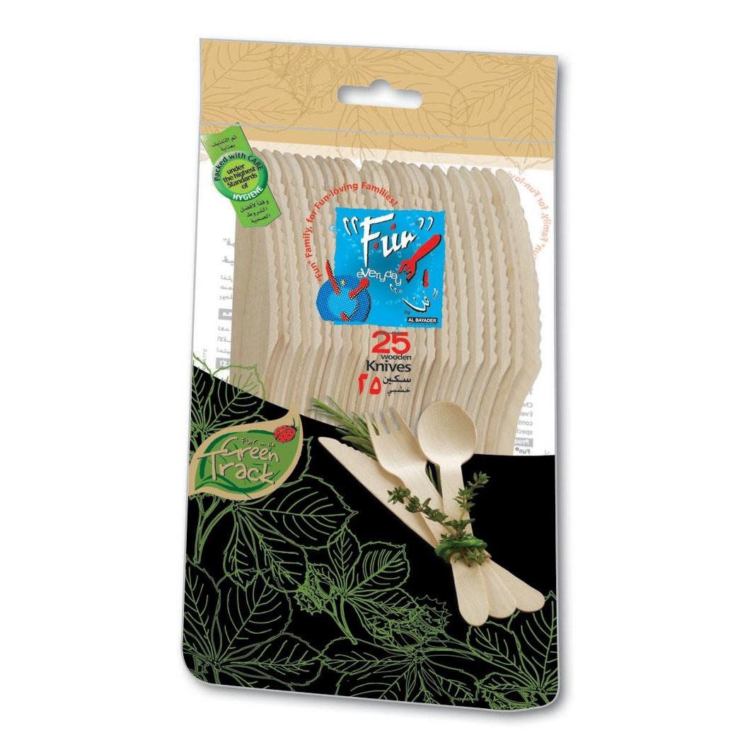 Fun® Wooden Knife ⌀6.5in - Evergreen | 25pcsx20pkts