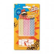 Fun® Birthday Candles - Spiral + Holders | 10pcsx12pkts