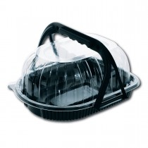 Large Chicken Container (Black Base + Clear Cover) w/ Handle 250x185x120mm | 100pcs