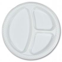3-Comp. Plastic Plate ⌀26cm - White | 50pcsx10pkts