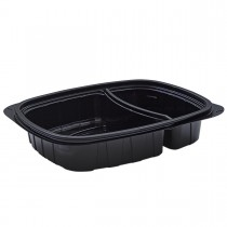 Tutipac 2-Comp Black Hot Multipurpose Containers PP | 250pcs