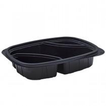 Tutipac 3-Comp Diagonal Black Hot Multipurpose Containers PP | 250pcs