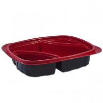 Tutipac 3-Comp Diagonal Black and Red Hot Multipurpose Containers PP | 250pcs