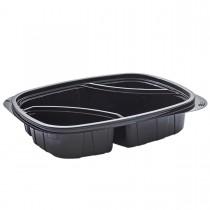 Tutipac 3-Comp Diagonal Black Cold Multipurpose Containers PET | 250pcs