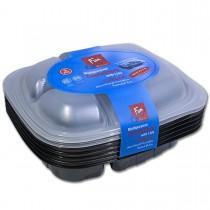 Fun® Tutipac 3-Comp Black Hot Multipurpose Cont.+Lid PP   5pcs*10pkts
