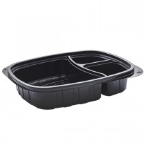 Tutipac 3-Comp Black Cold Multipurpose Containers PET | 250pcs