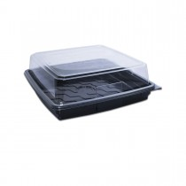 Combopac Black Square Container (PET) and Clear Dome Lid (PET) 11x11"