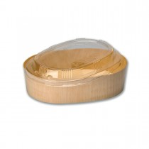 Oval Wooden Container 16oz + Clear Lid ⌀170x120x45mm P:300pcs