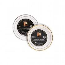 Fun® Premium Round Plate ⌀15cm - White w/ Gold/Silver Ring | 10pcsx20pkts
