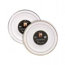 Fun® Premium Round Plate ⌀23cm - White w/ Gold/Silver Ring | 10pcsx20pkts
