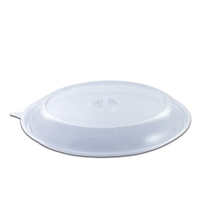 Roundpac Dome Lid w/ Spork Slot For Round Plate ⌀26cm - PET/Clear Deluxe | 25pcsx10pkts
