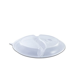 Roundpac Dome Lid 2-Comp. w/ Spork Slot for Round Plate/Cont. ⌀22cm - PET/Clear Deluxe | 25pcsx10pkts