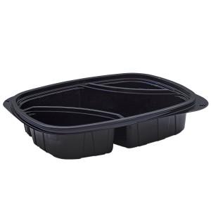 Tutipac 3-Comp Diagonal Black Hot Multipurpose Containers PP   250pcs