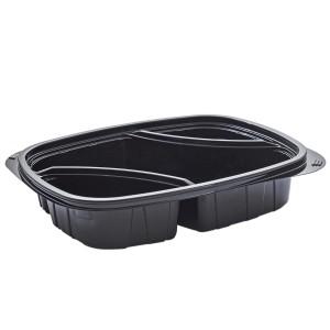 Tutipac 3-Comp Diagonal Black Cold Multipurpose Containers PET   250pcs